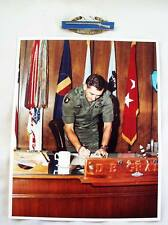 Sterling and Maker Marked Two Star Combat Infantry Badge and Photo of MG Grange