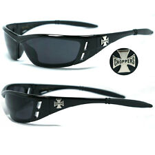 Choppers Bikers Mens Wrap Around Face Sunglasses - Black Frame Smoke Lens C46