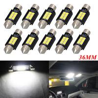 10x 36mm LED Canbus 3030 6SMD Festoon Xenon White Car Interior Dome Light Bulb