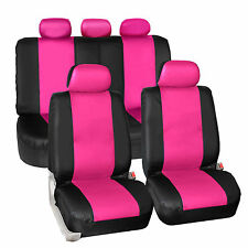 Synthetic Leather Car Seat Covers Pink Black Full Two Row Set Auto