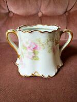 """Haviland H&Co Limoges France Schleiger Pink Roses Sugar Bowl 5"""" Missing Lid"""