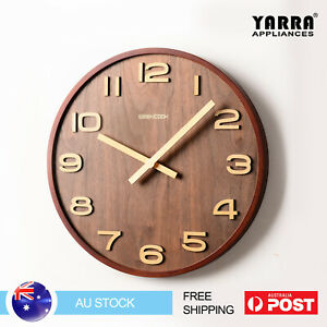 "12"" 14"" Wall Clocks Brown Solid Wooden 12-Hour Quartz Clock Battery Powered"