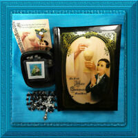 BOY 1st First Holy Communion MASS Book ROSARY Pin SCAPULAR Gift Box Kit ON SALE