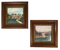 Vintage Gladding McBean hand painted tiles. Framed pair. House in Whittier, girl