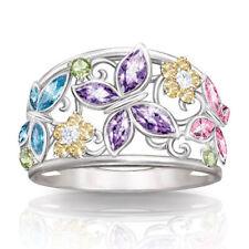 Elegant Women 925 Silver Butterfly Flower Ring Amethyst Wedding Jewelry Sz 5-11