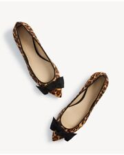New w. Box Ann Taylor Camryn Leopard Print Haircalf Bow Flats Sz 5