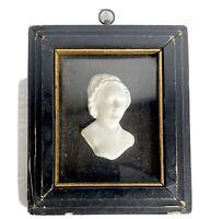 """Martha Washington Porcelain Bisque Portrait Picture 6"""" Wood Frame Vtg Antique"""