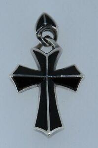 "Stephen Webster Sterling Silver 1 7/8"" Black Onyx Cross Pendant 13.08Grams #S314"