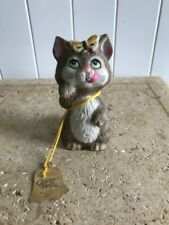 Cat Kitten with Butterfly Vintage Jasco Critter Bell Porcelain Figurine-Rare