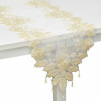 Beige Full Lace Embroidered 100% Polyester Dinning Table Runner with Beads