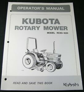 Kubota Rotary Mower RC60-92H Tractor Operators Operation Owner Parts Manual Book