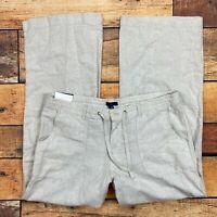 Gap Flax Linen Beach Pants Size 14 Womens Wide Leg Drawstring Waist Tan