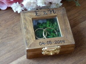 Engagement Ring Box. Rustic Wedding Proposal Ring Box Glass Window, Personalized