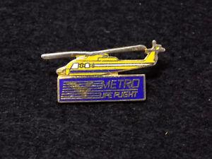 Vintage Metro LifeFlight Medical Helicopter Pin Badge