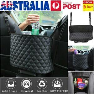 Car Net Pocket Handbag Holder Between Seat Storage Organiser PU Leather Bags AU