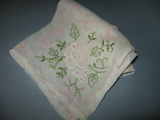 Vintage LADIES EMBROIDERED HANDKERCHIEF SHEER Scrolls & Florals