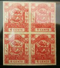 North Borneo 1889 6c Imperf 4x Block  Mint