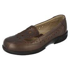 Ladies Leather Denim Blue / Espresso Slip On Leather Easy B Shoes Sunray