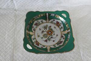 Pretty Noritake 15cm Square Green Floral Dish