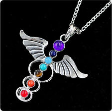 Silver Plated 7Beads Angel Wand Of Mercury Healing Point Chakra Pendant Necklace