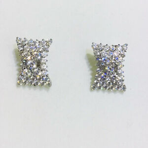 14k Solid White Gold Cluster French Stud Earring With White Stone 6.30GM(970$)