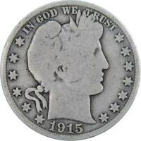 1915 S 50c Barber Silver Half Dollar US Coin Average Circulated
