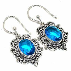 """Blue Topaz Gemstone 925 Sterling Silver Jewelry Earring 1.8"""" S1948"""