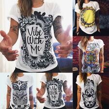 Damen Retro Punk Eule T-Shirt Kurzarm Bluse Shirt Oberteile Tops Sommer Tee Mode