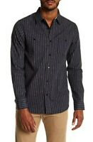 coastal shirt  mens  gray striped Button Front Collar large  d5