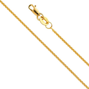 14k REAL Yellow Gold Solid 1mm Braided Wheat Chain Necklace with Lobster Claw -