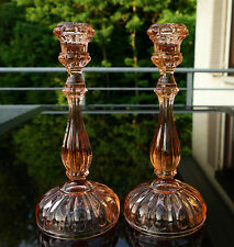 1 Paar prunkvolle Rosalin Pressglas  Kerzenleuchter  Art Deco um 1930 !!!