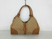 Auth Gucci Gg/New Jackie 124407 Beige Brown Jacquard & Leather Handbag