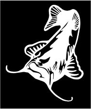 WHITE Vinyl Decal - Catfish fishing fish pole pond river hunt country fun