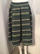 NWT LuLaRoe XL Madison Skirt Blue Yellow Tribal Aztec Geometric Pattern Pockets