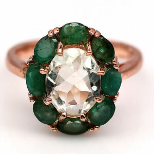 NATURAL 8 X 10 mm. GREEN AMETHYST & GREEN EMERALD 925 STERLING SILVER RING