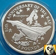 1998 GIBRALTAR £5 Five Pounds Eurofighter Typhoon RAF Anniv Silver Proof Coin