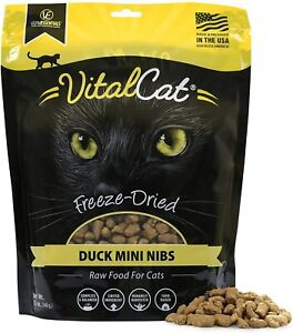 Vital Cat Freeze-Dried Duck Mini Nibs Raw Cat Food Supports Overall Health 12-Oz