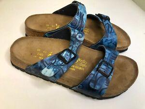 CLEAN! Papillio Birkenstock Womens 6 Blue Floral Print Toe Sandals Shoes
