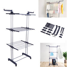 Foldable Large Clothes Airer 3 Tier Indoor Outdoor Laundry Dryer Rack Line UK