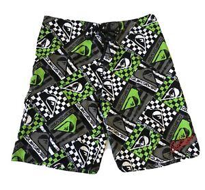 Quicksilver Mens Board Shorts Green Black White Check Quick Dry Tie Up Size 38
