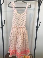 mini boden girls pink block print dress 7-8yr