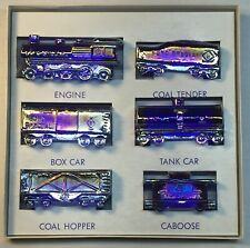 "Boyd Art Glass Six Piece Cobalt Carnival ""Boyd's Special"" Train Set Original Box"