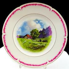 """LIMOGE OF FRANCE COUNTRY FARM SCENE PINK BAND 9 3/4"""" CABINET PLATE"""