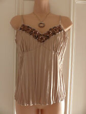 Marks and Spencer UK10 gold crinkled vest/camisole copper sequins and embroidery