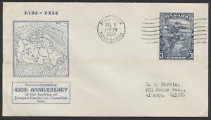 1934 #208 Jacques Cartier FDC, Blue Map Cachet, Halifax NS