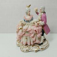 Wilhelm Rittirsch Dresden Lace Figurine Woman and Man Dancing