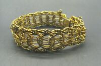 1/20 12K Yellow GOLD FILLED GF Elco Charm Bracelet MULTI-STRAND Vtg Double Link