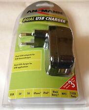 USB Ladeadapter Dual Ladegerät Adapter Ansmann USB DUAL Ladegerät iPhone iPod