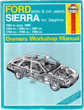 FORD Sierra SOHC & CVH BENZINA Inc Sapphire & P100 Haynes Manuale Officina 1982-89