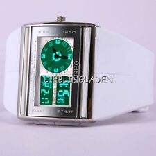 New OHSEN White Womens Analog Digital Quartz Ladies Rubber Wrist Band Watch X16W